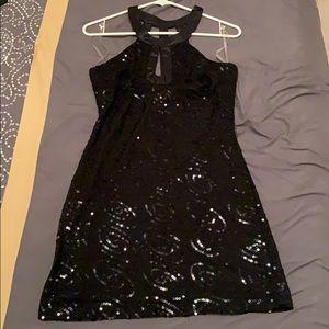 Little black dress with black sequins